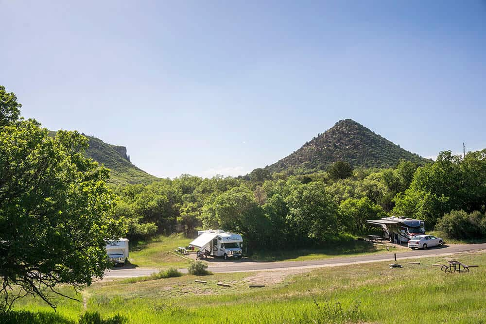 several campsites at Morefield Campground in Mesa Verde National Park