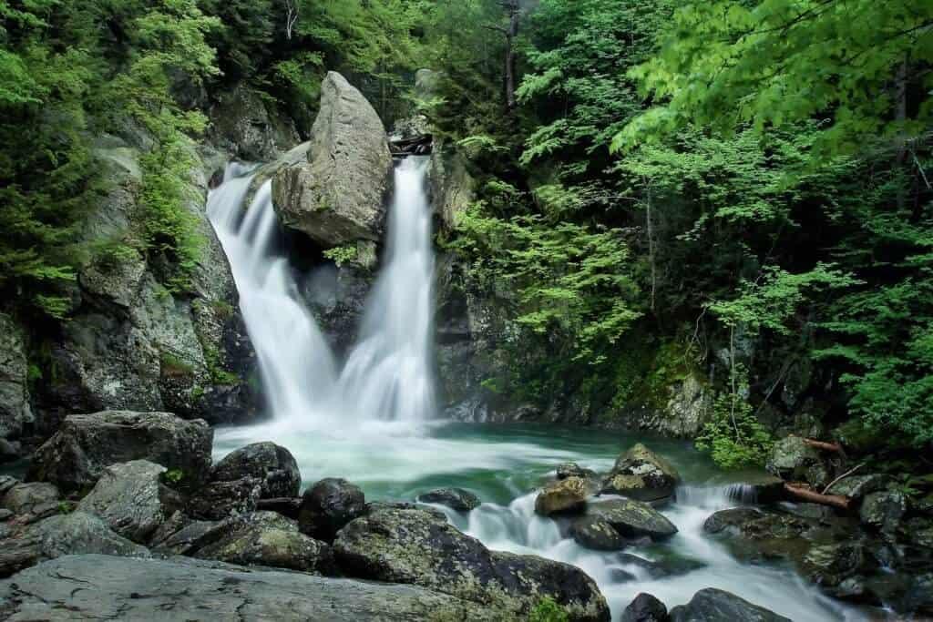 A long exposure shot of Bash Bish Falls
