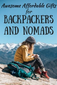 A woman sits on a mountain next to a backpack. Caption: Affordable Gifts for Backpackers