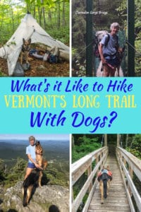a collage of outdoor photos with the caption: What's it like to hike the Long Trail with dogs?