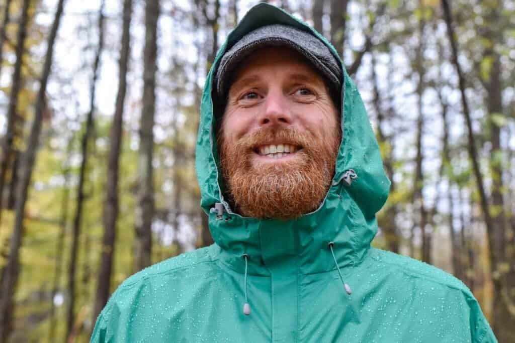 A close-up of the hood on the My Trail Storm UL Jacket for men