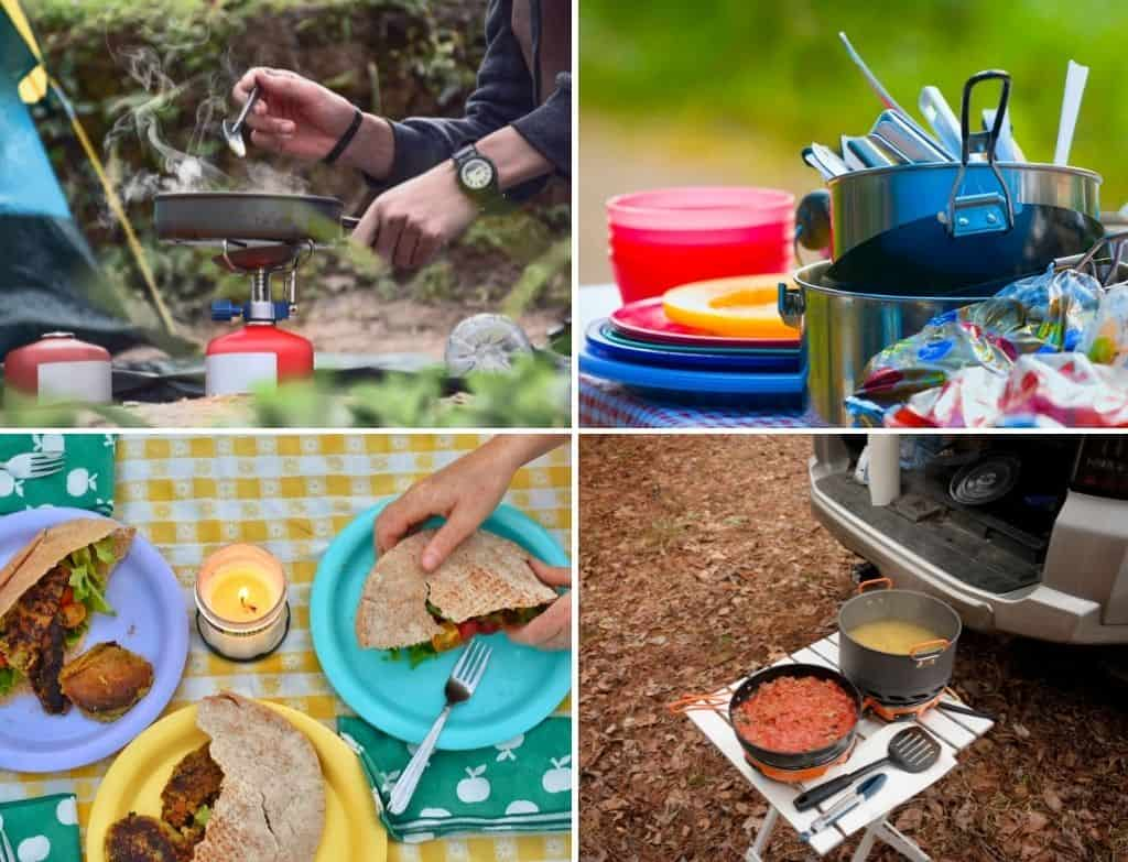 A collage of photos featuring outdoor camping kitchens.