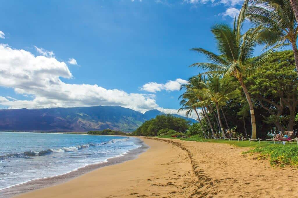 A stretch of sandy beach on Maui in Hawaii.