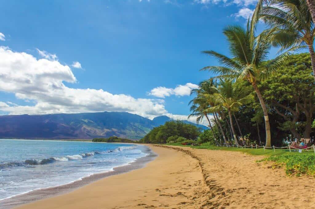A stretch of sandy beach on Maui in Hawaii.