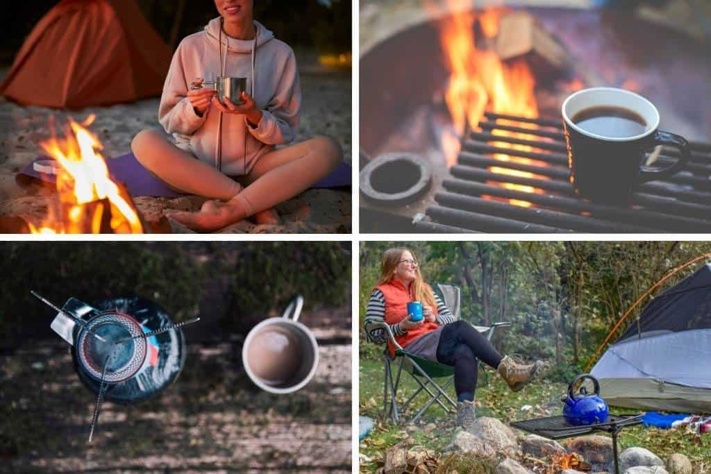 A collage of photos featuring coffee and campfires