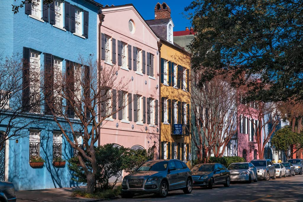 Colorful houses in Charleston, SC on a winter road trip in the United States