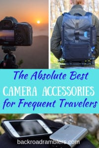 A collage of travel photography photos with the caption: The Absolute Best Camera Accessories for Frequent Travelers