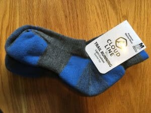 A pair of blue and grey running socks from CloudLine