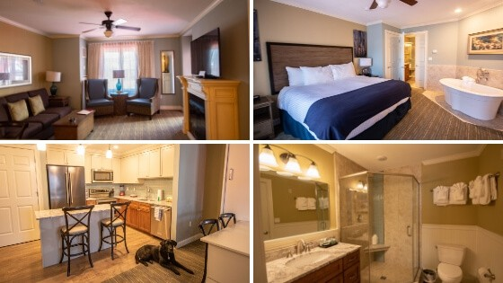 A collage of photos from River Walk Resort at Loon Mountain - one bedroom suite.