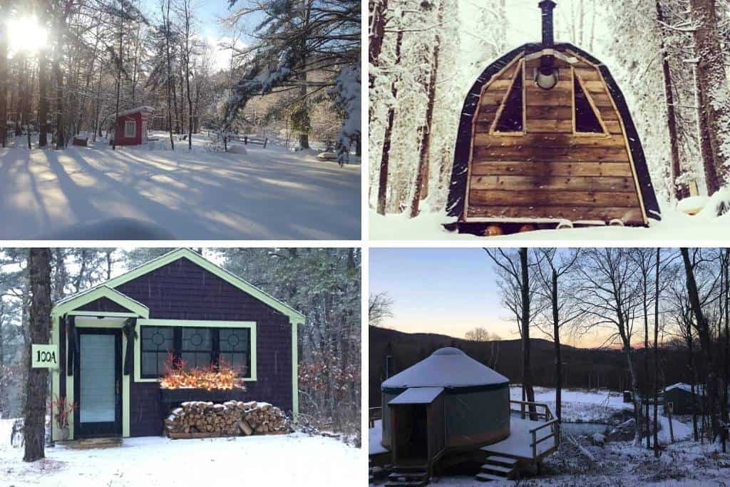 A collage of winter glamping in New England photos
