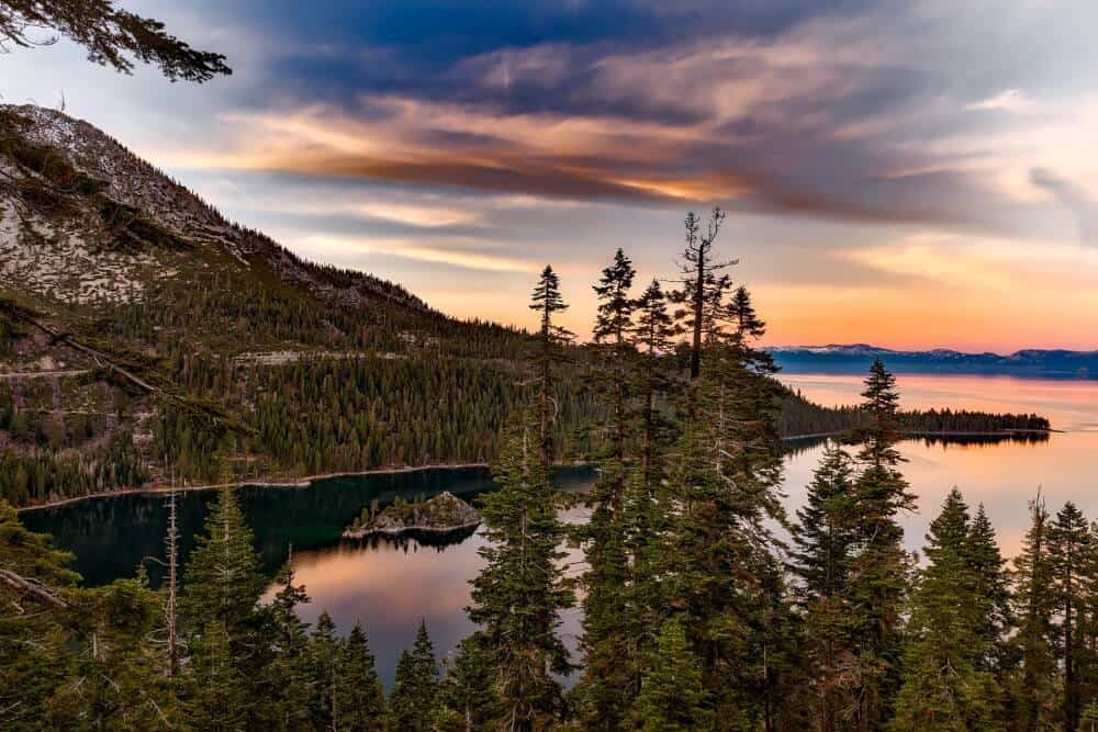 A sunset view of Emerald Bay, Lake Tahoe