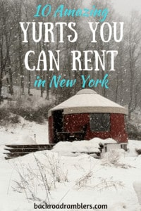 a red yurt in a snowy field. Caption reads: 10 Amazing yurts you can rent in New York