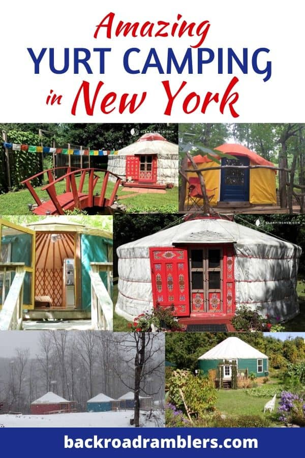 A collage of New York yurt photos. Caption reads: Amazing yurt camping in New York