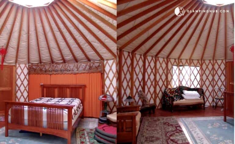 The interior of a yurt rental in Kaaterskill Forest, NY