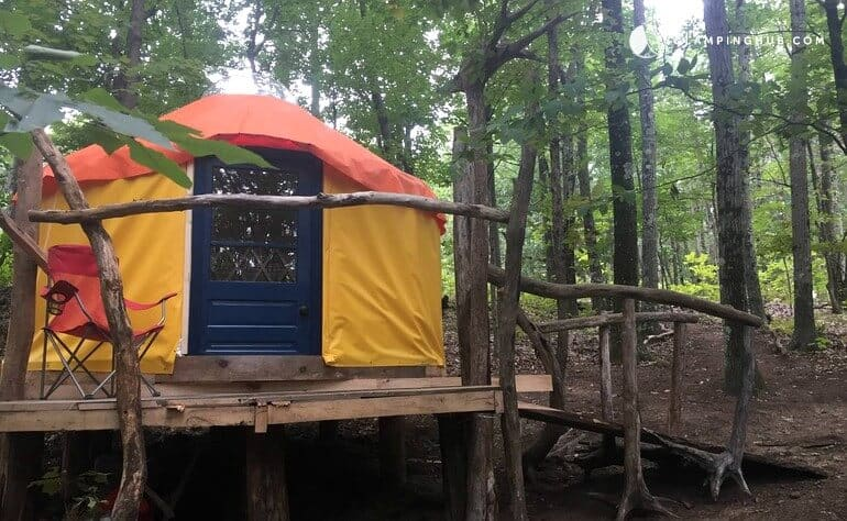 A colorful yurt in the woods near Albany, NY