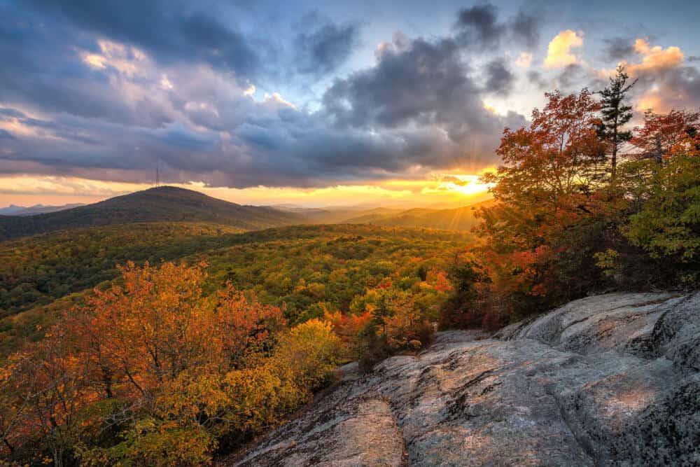 A beautiful sunset on the Blue Ridge Parkway in North Carolina