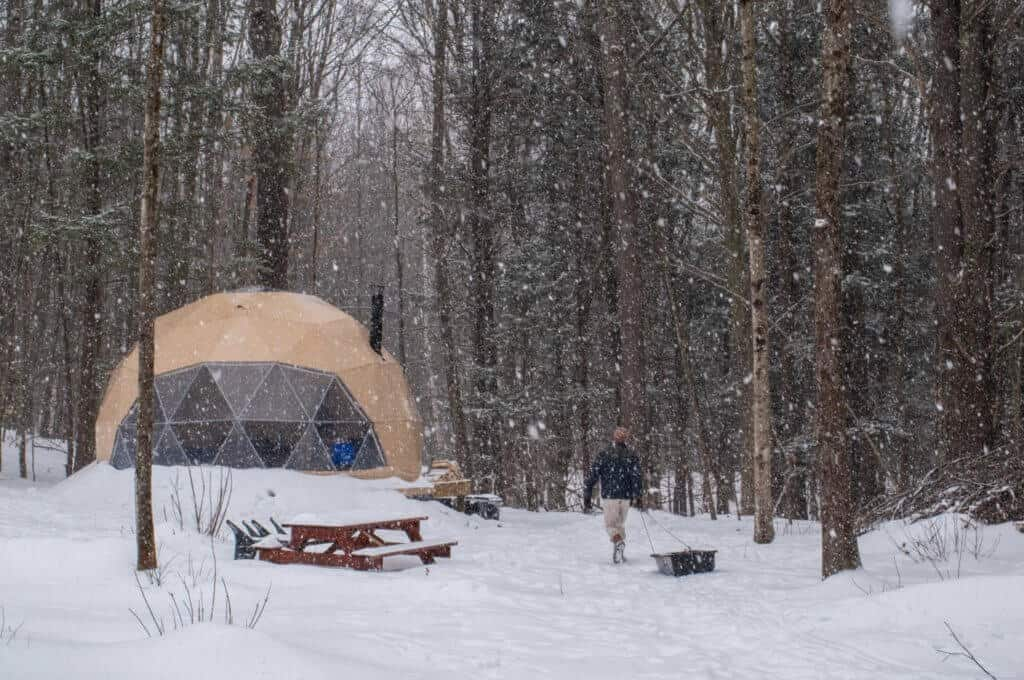 A view of a geodesic dome nestled in the woods of Vermont on a snowy day.