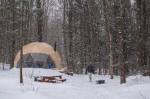 Winter Glamping in Vermont: Stay in a Cozy Geodesic Dome in Putney