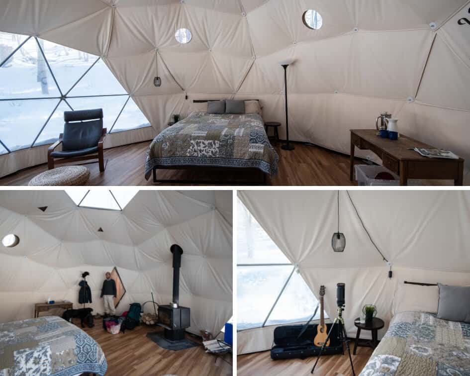 A college of interior shots of a geodesic dome rental in Putney, Vermont