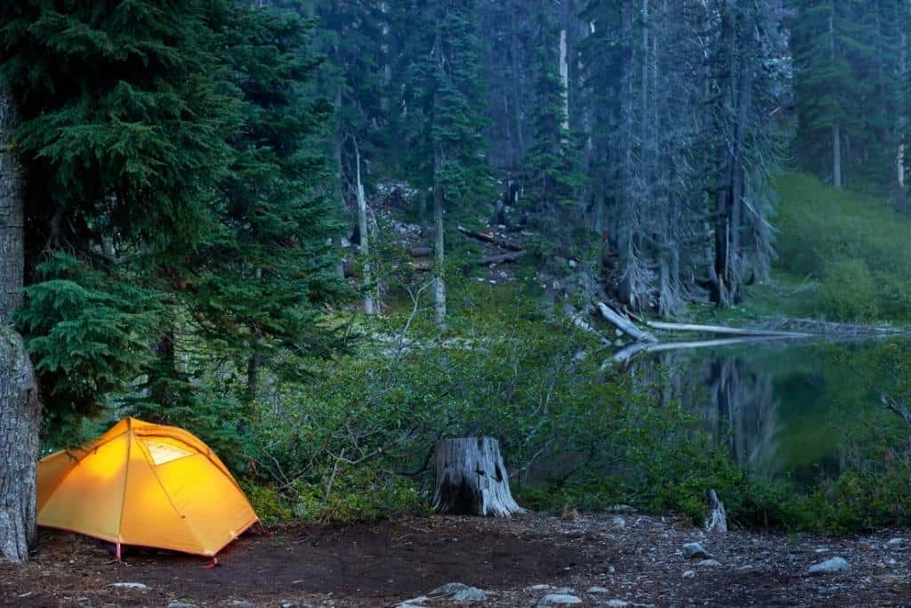 A tent set up for spring camping
