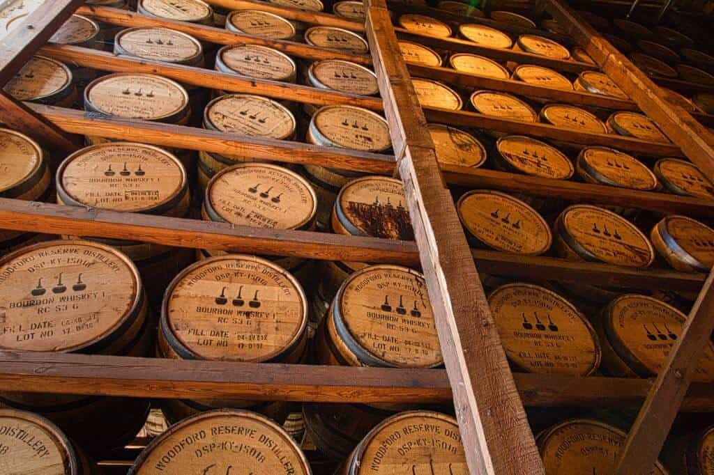 Bourbon racks at Woodford Reserve on a Kentucky bourbon tour.
