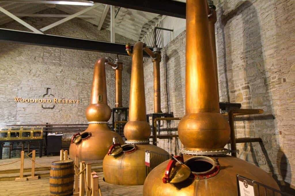 Bourbon stills on a Woodford Reserve distillery tour.