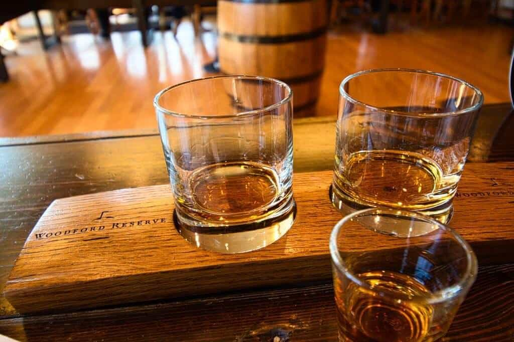A flight of bourbon on a Kentucky bourbon tour