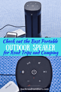A collage of two photos featuring the Soundcast VG3 portable speaker. Caption reads: Check out the best portable outdoor speaker for Road Trips and Camping