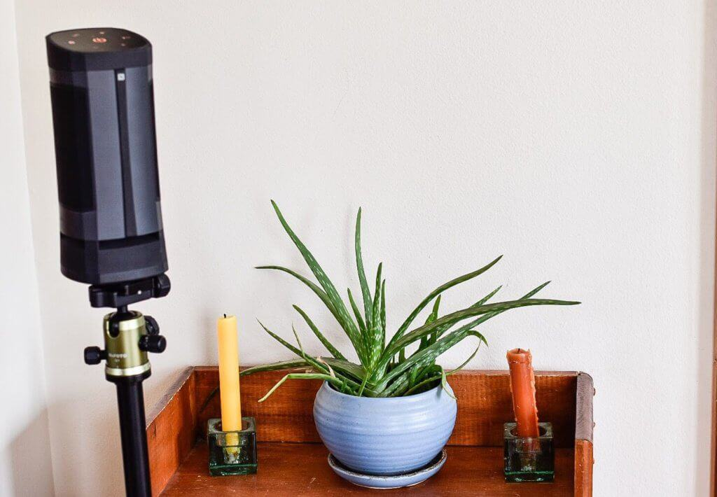 A shelf containing an aloe plant and two candles. Next to the shelf is the Soundcast VG3 speaker mounted on a tripod.