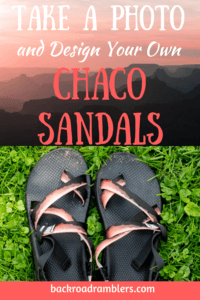 A photo of the Grand Canyon and a pair of Chaco sandals designed with the same photo. Caption reads: Design your own Chaco Sandals.