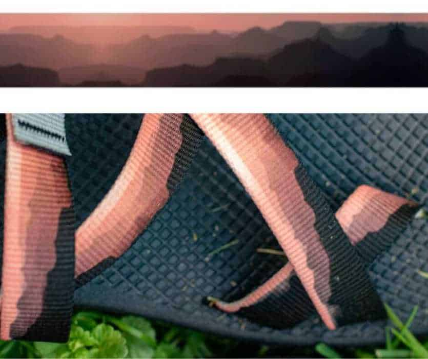 A close-up of the customized Chaco straps featuring a Grand Canyon sunset.