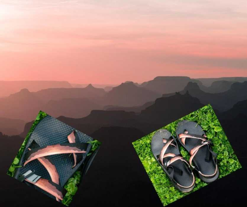 A sunset view of the Grand Canyon, with two inset photos of customized Chaco sandals made with the same image.