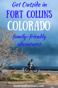 A bicycle rides through Fort Collins, Colorado. Caption Reads: Fort Collins Colorado: Family-Friendly Adventures