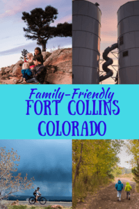 A collage of Fort Collins photos. Caption reads: Family Friendly Fort Collins, Colorado