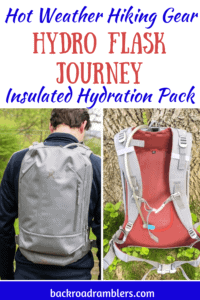 A collage of photos featuring the new Hydro Flask Journey. Caption reads: Hydro Flask Journey Insulated Hydration pack.
