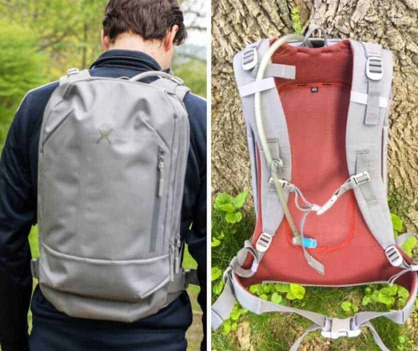 Two photos of the Hdyro Flask Journey hydration pack - back and front view.