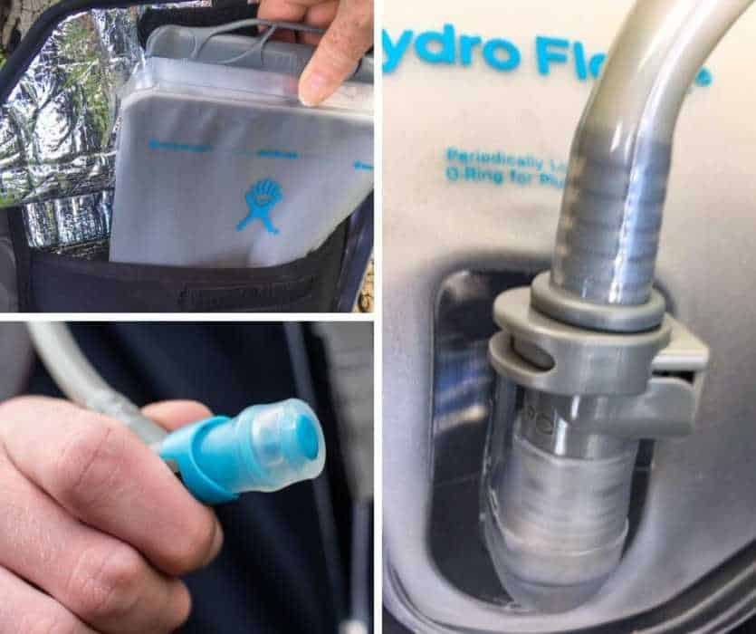 a collage of photos showing close-ups of the Hydro Flask Journey insulated hydration bladder.