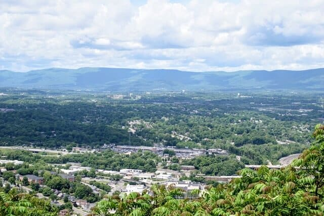 A view of Roanoke, VA from the top of Mill Mountain
