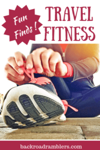 A close up of a woman tying her shoe. Caption reads: Fun Finds: Travel Fitness