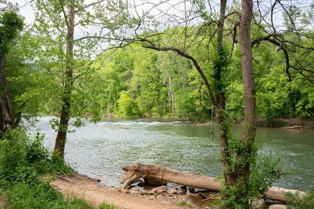 The Roanoke River at Explore Park in Roanoke, VA