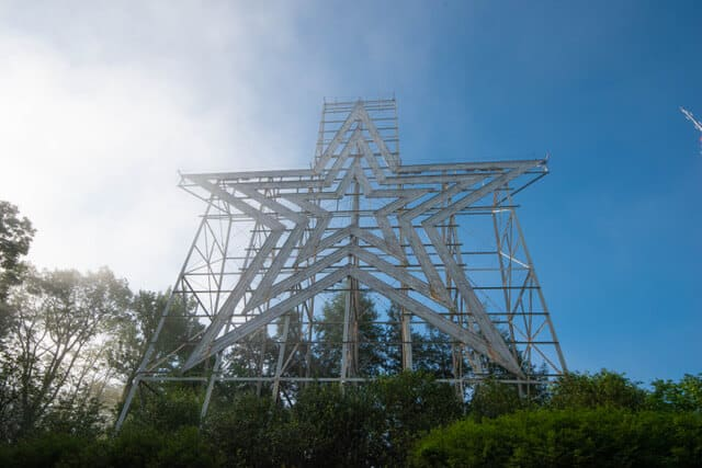 A hazy view of the Roanoke Star on Mill Mountain.