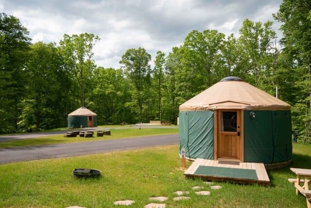 Yurts for rent in Explore Park on the Blue Ridge Parkway in Roanoke, VA