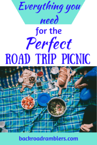a spread of picnic food on a blue blanket. Caption reads: Everything you need for the perfect road trip picnic.