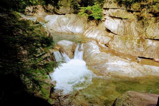 Warren Falls in Vermont on spring day.