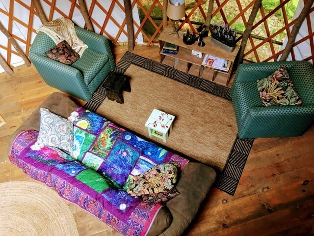 the view of the living room from our yurt