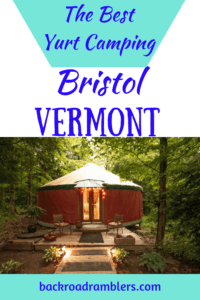 A night shot of a yurt rental in Vermont. Caption reads: The best yurt camping in Bristol, Vermont