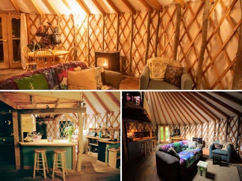 a collage of interior photos of our yurt rental in Vermont.
