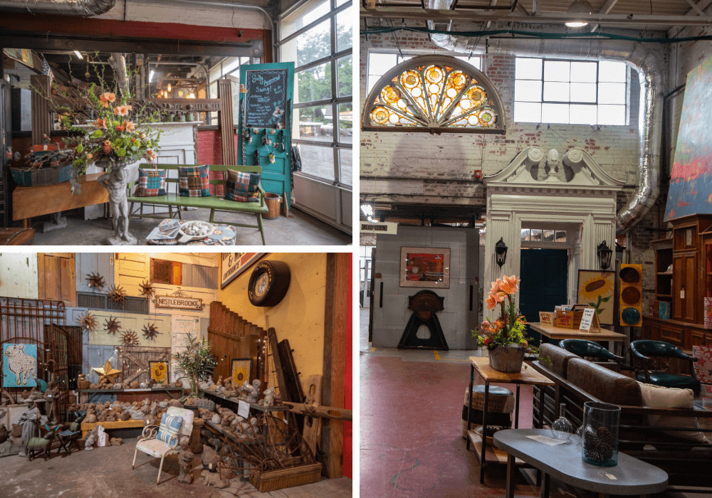 A collage of photos from Black Dog Salvage in Roanoke, Virginia