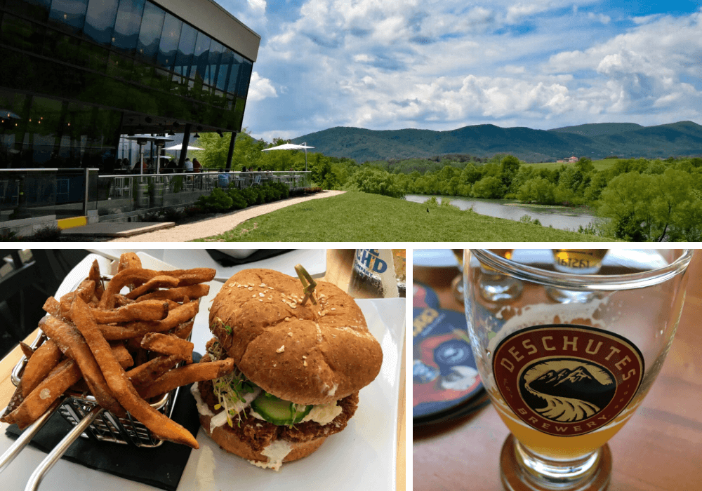 A collage of photos from different craft breweries in Roanoke, Virginia, including Ballast Point Brewery, Three Notched Brewery, and Deschutes Brewery.