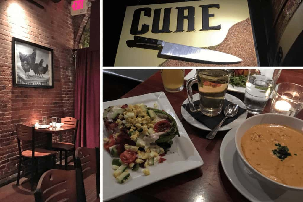 A collage of photos from Cure Restaurant in downtown Portsmouth, New Hampshire